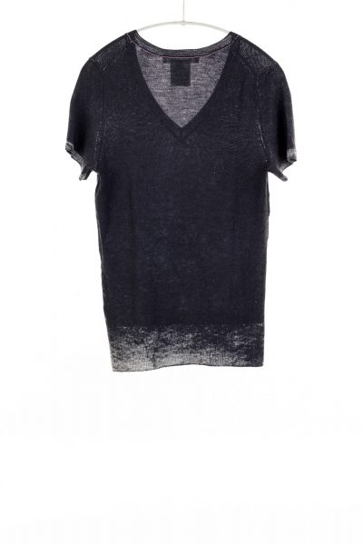 Paychi Guh | Printed V-Neck Tee, Black, 100% Worsted Cashmere