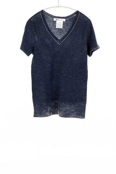 Paychi Guh | Printed V-Neck Tee, Ink Blue, 100% Worsted Cashmere