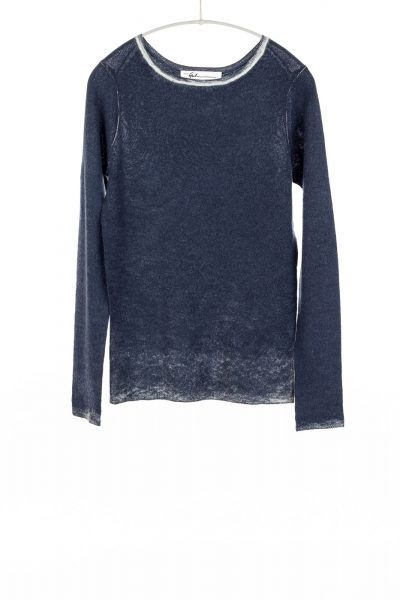 Paychi Guh | Printed Bateau, Ink Blue, 100% Worsted Cashmere