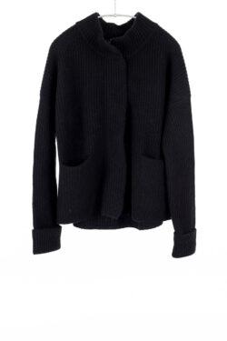 Paychi Guh | Mock Cardigan, Black, 100% Cashmere