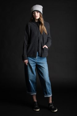 Paychi Guh | Mock Cardigan, Charcoal, 100% Cashmere