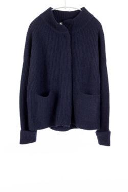 Paychi Guh | Mock Cardigan, Navy, 100% Cashmere