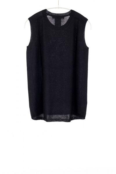 Paychi Guh | Crewneck Tank, Black, 100% Worsted Mongolian Cashmere