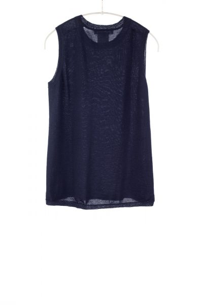 Paychi Guh | Crewneck Tank, Navy, 100% Worsted Mongolian Cashmere