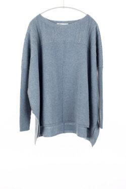 Paychi Guh | Slim Sleeve Poncho, Grey Blue, 100% Cashmere