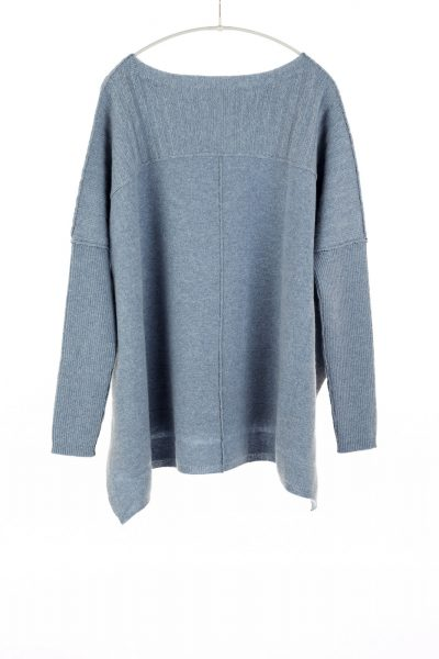 Paychi Guh | Slim Sleeve Poncho, Grey Blue, 100% Cashmere