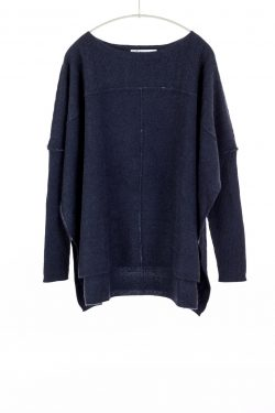 Paychi Guh | Slim Sleeve Poncho, Heather Navy, 100% Cashmere