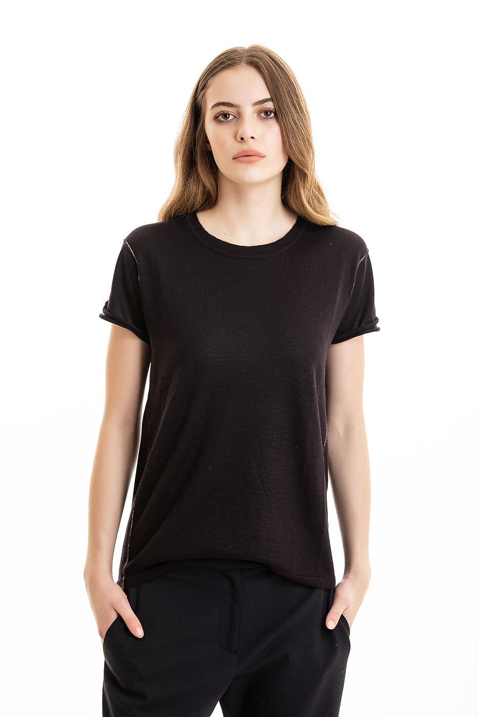 Paychi Guh   Baby Tee, Plum, 100% Worsted Mongolian Cashmere