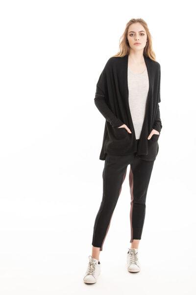Paychi Guh | Poncho Cardigan, Black, 100% Cashmere