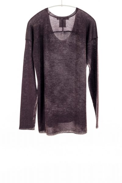Paychi Guh | Printed Scoop Tee, Deep Currant, Cashmere/Silk with Push-through Print