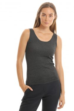 Paychi Guh | Tank, Charcoal, 100% Worsted Mongolian Cashmere