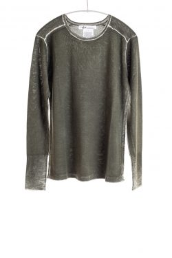 Paychi Guh | Printed L/S Crew, Olive, Cashmere/Silk with Push-through Print