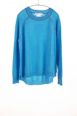 Paychi Guh | Airy Textured Crew, Aqua, 100% Airy Cashmere