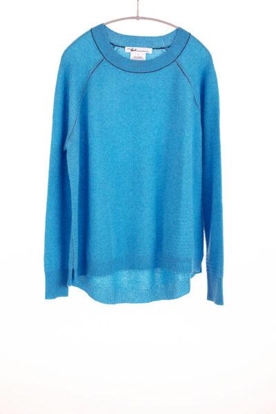 Paychi Guh | Airy Textured Crew, Aqua, 100% Airy Cashmere