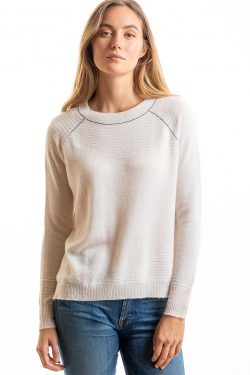 Paychi Guh | Airy Textured Crew, Cream, 100% Airy Cashmere