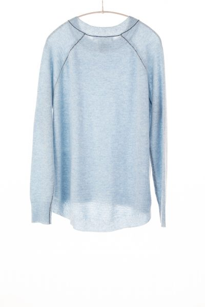 Paychi Guh | Airy Textured Crew, Ice Blue, 100% Airy Cashmere