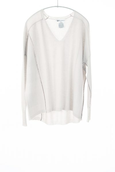 Paychi Guh | V-Neck Pullover, Stone, 100% Refined Cashmere