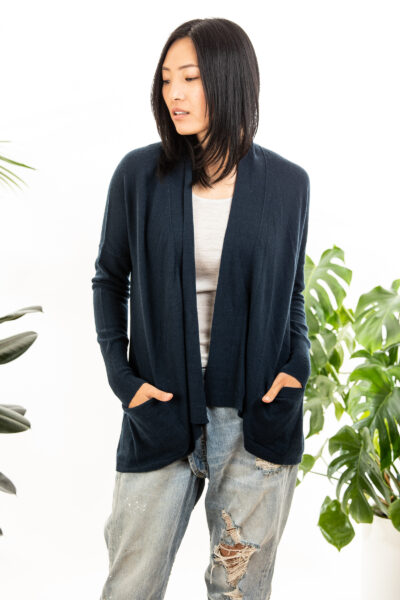 Paychi Guh | Open Cardigan, Midnight, 100% Refined Cashmere