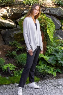 Paychi Guh   Open Cardigan, Stone, 100% Refined Cashmere