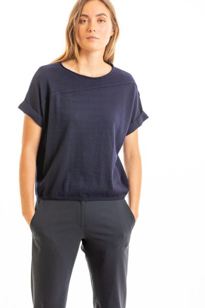 Paychi Guh | Cuffed Pullover, Navy, 100% Worsted Mongolian Cashmere