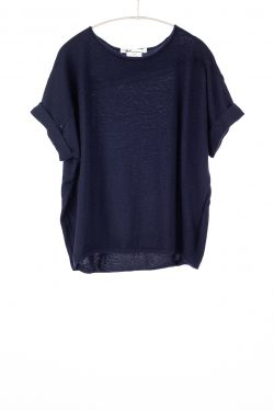 Paychi Guh   Cuffed Pullover, Navy, 100% Worsted Mongolian Cashmere
