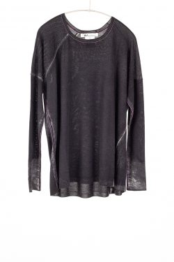 Paychi Guh | Printed Relaxed Tee, Black, Cashmere/Silk with Push-through Print