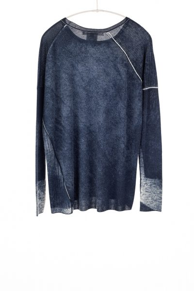 Paychi Guh | Printed Relaxed Tee, Midnight, Cashmere/Silk with Push-through Print