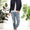 Paychi Guh | Crew Cardigan, Navy, 100% Worsted Mongolian Cashmere