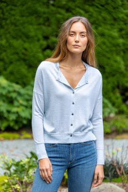 Paychi Guh | Crew Cardigan, Sky, 100% Worsted Mongolian Cashmere