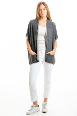 Paychi Guh | Two Tone Vest, Charcoal/Dove Grey, 100% Worsted Mongolian Cashmere