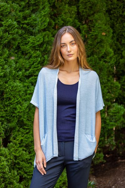Paychi Guh | Two Tone Vest, Lt Blue/Dove Grey, 100% Worsted Mongolian Cashmere