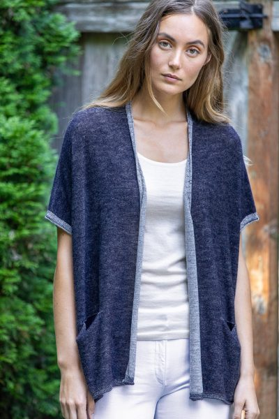 Paychi Guh | Two Tone Vest, Navy/Petal, 100% Worsted Mongolian Cashmere