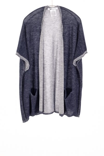 Paychi Guh   Two Tone Vest, Navy/Petal, 100% Worsted Mongolian Cashmere