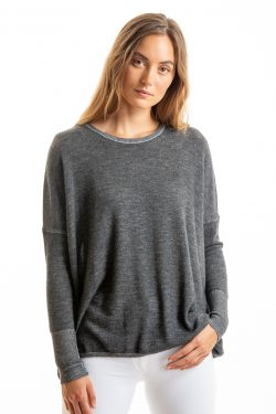 Paychi Guh   Two Tone Pullover, Charcoal/Dove Grey, 100% Worsted Mongolian Cashmere