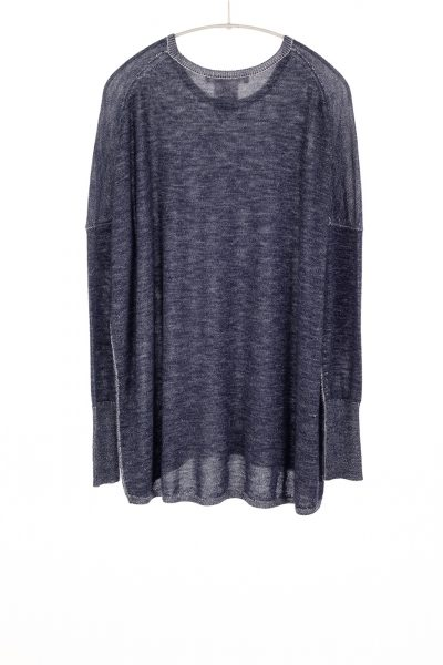 Paychi Guh | Two Tone Pullover, Navy/Petal, 100% Worsted Mongolian Cashmere