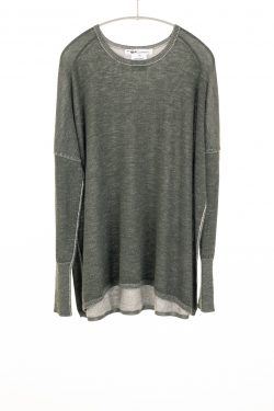 Paychi Guh | Two Tone Pullover, Olive/Petal, 100% Worsted Mongolian Cashmere