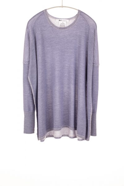 Paychi Guh | Two Tone Pullover, Purple Slate/Petal, 100% Worsted Mongolian Cashmere