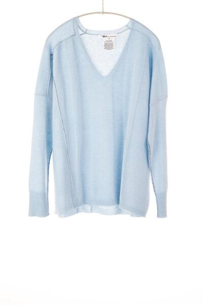 Paychi Guh | V-Neck Pullover, Lt Blue, 100% Refined Cashmere