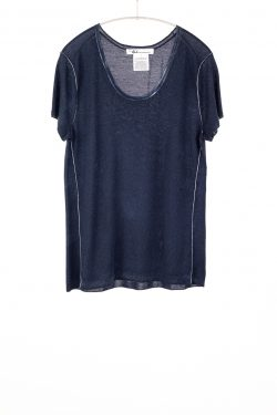 Paychi Guh | Printed S/S Scoop Tee, Midnight, Cashmere/Silk with Push-through Print
