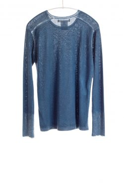 Paychi Guh | Printed L/S Crew, Blue, Cashmere/Silk with Push-through Print