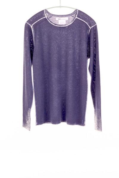 Paychi Guh | Printed L/S Crew, Purple Slate, Cashmere/Silk with Push-through Print