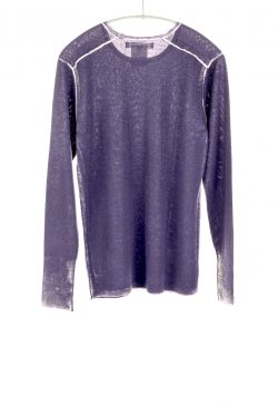 Paychi Guh | Printed L/S Crew, Purple Slate, Cashmere/Silk with Push-through Print