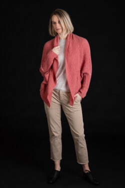 Paychi Guh | Dreamy Cocoon Cardigan, Coral, 100% Dreamy Cashmere
