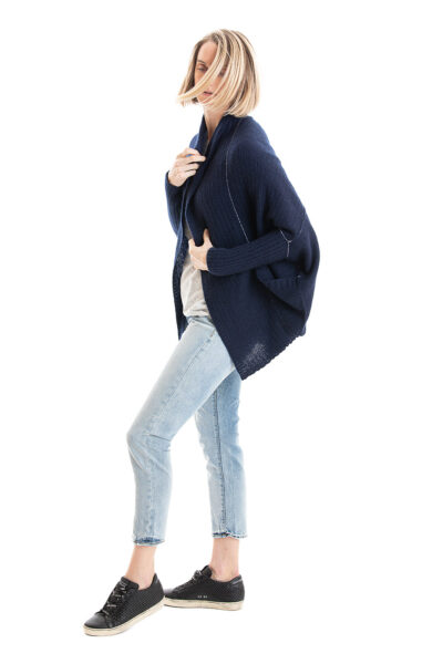 Paychi Guh | Dreamy Cocoon Cardigan, Navy, 100% Dreamy Cashmere