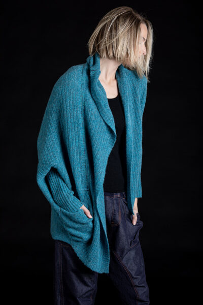 Paychi Guh | Dreamy Cocoon Cardigan, Peacock, 100% Dreamy Cashmere