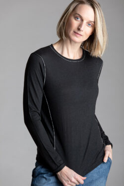 Paychi Guh | L/S Baby Tee, Seaweed, 100% Worsted Cashmere
