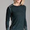 Paychi Guh | Printed L/S Crew, Dark Green, Cashmere/Silk with Push-through Print