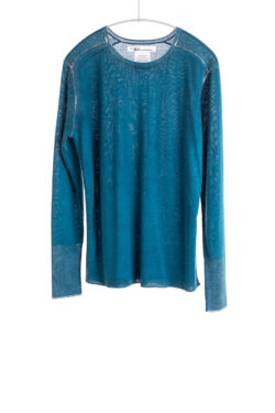 Paychi Guh | Printed L/S Crew, Peacock, Cashmere/Silk with Push-through Print