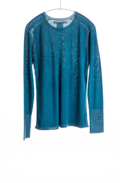 Paychi Guh   Printed L/S Crew, Peacock, Cashmere/Silk with Push-through Print