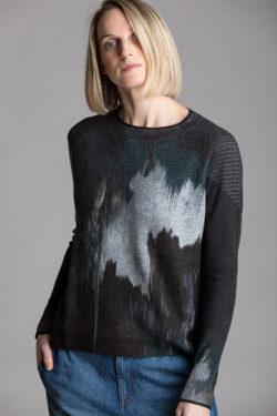 Paychi Guh | Splash Print Crew, Teal/Grey, 100% Cashmere